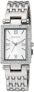 Rampage Watch Rectangular Silver Dial Silver-Tone Bracelet Quartz Womens Watch