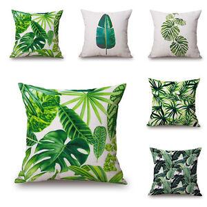 Rainforest-Green-Leaves-Plant-Pillow-Case-Cushion-Cover-Square-Linen-Decor