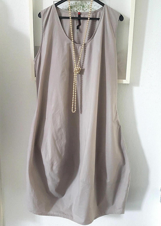 Cut Loose eleganteärmelloses Ballonkleid Beige  Creme Gr.XL Büro Freizeit cotton