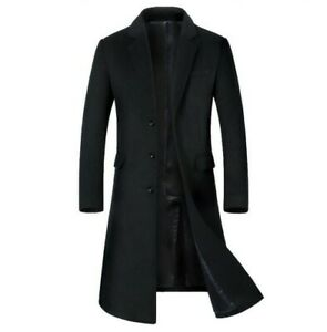 Men/'s wool cashmere winter thick trench coat outwear wool jacket parkas Overcoat