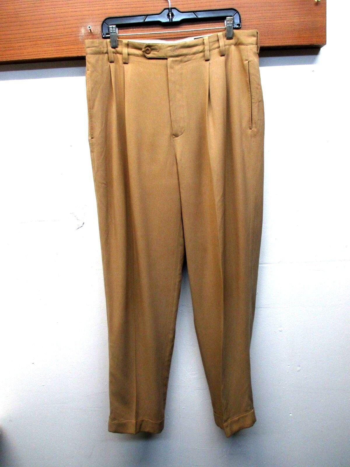 EUC Nat Nast 100% pure Silk Dress Tan Pants Pleated Cuffed Tailored Men's sz 33