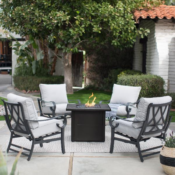 Patio Furniture Set Outdoor Sets Clearance Fire Pit Mainstays Blue 5 Piece For Sale Online Ebay
