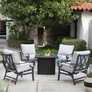 9883fe36a942 5 Piece Rocker Chat Set with Propane Fire Pit Outdoor Modern Patio ...
