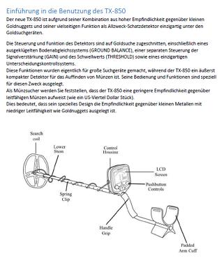 Bedienungsanleitung Tianxun Tx-850 Metalldetektor In Deutsch Als Pdf Per Mail QualitäT Zuerst