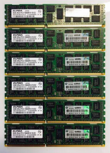 48GB DELL PowerEdge Server Memory 6x8Gb Dimms PC3-10600R ECC DDR3-1333MHz