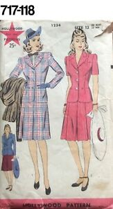 VTG-Sewing-Pattern-Hollywood-1234-Size-12-Bust-30-Hip-33-Two-Piece-Suit-1940s