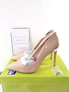 TED-BAKER-Nude-Leather-Shoes-Size-8-EU-41-Patent-Court-Heels-Brand-New-RRP-150