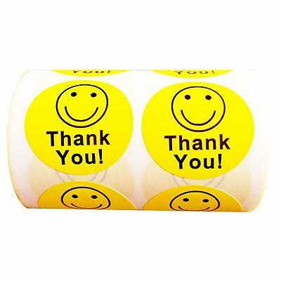 """Hybsk Yellow Smiley Face Happy Stickers 1.5/"""" Round Circle Teacher Labels 500 Per"""