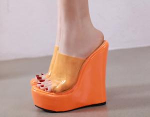 Platform Open Toes PVC Clear High Heels