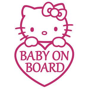 baby on board hello kitty heart bow boy girl vinyl decal sticker bb 09 ebay. Black Bedroom Furniture Sets. Home Design Ideas