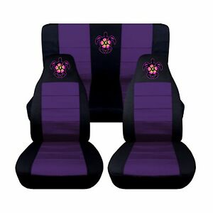 fits 2016 subaru impreza front and rear seat covers black purple hibiscus turtle ebay. Black Bedroom Furniture Sets. Home Design Ideas