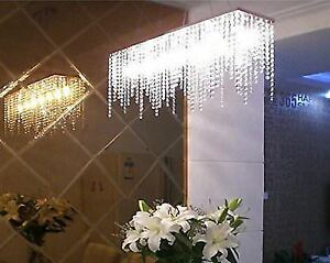 7pm Modern Linear Rectangular Island Dining Room Crystal Chandelier Lighting
