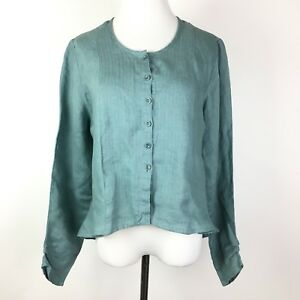 Flax-Linen-Top-Size-Small-Seafoam-Green-Blue-Button-Down-Embroidered-Shirt