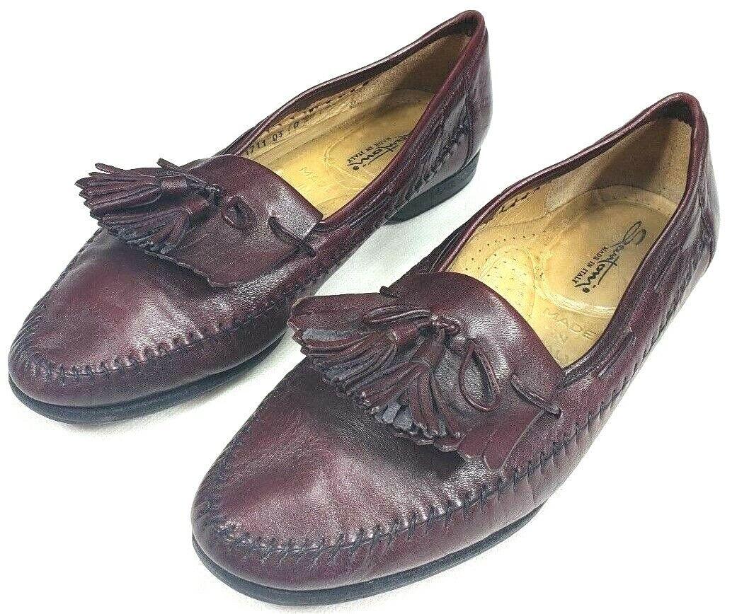 Santoni Made In  Mens Sz 9.5 D Brown Leather Tassel Stitched Slip-On Loafer