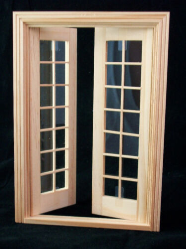 Double French Door wooden dollhouse miniature  6011 1//12 scale Houseworks