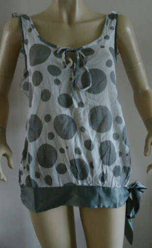 NEW LADIES CHILLI PEPPER GREY SPOTTED SLEEVELESS BLOUSE//TOP SIZES 8 /& 10
