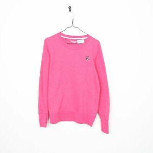 Vintage-Women-039-s-FILA-Small-Logo-Sweatshirt-Jumper-Pink-Medium-M