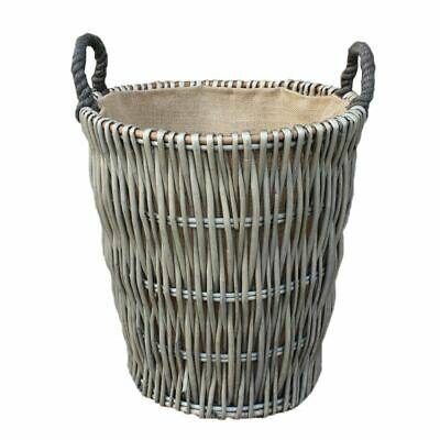 Red Hamper Willow Extra Large Antique Wash Finish Lined Wicker Log Basket