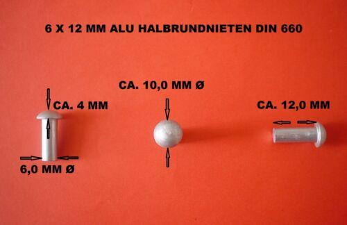 ALUMINIUM VOLLNIETEN 20 X ALU HALBRUNDKOPF NIETEN 6 X 12 MM DIN 660