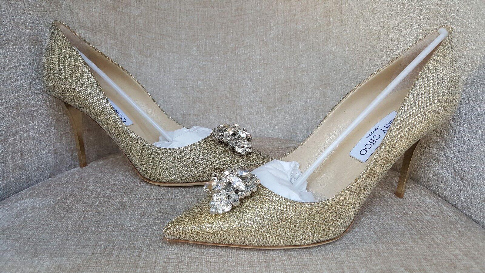 NIB Jimmy Choo gold gold gold Crystal 'Mamey' Pumps Size 10   40 Authentic -  1200 dc06cb