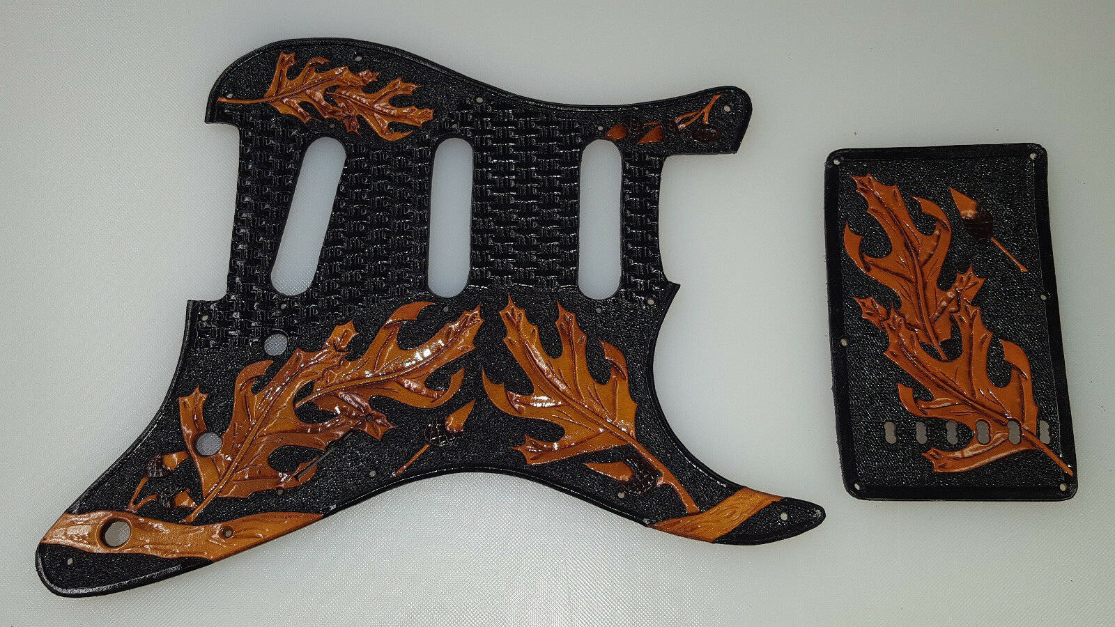 Leather pickguard Fender Stratocaster hand tooled    Leaves of Destiny  and back