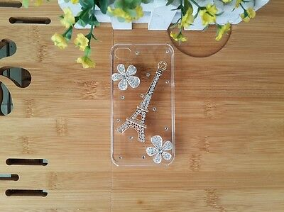 Handmade Eiffel Tower Rhinestone Flower Transparent Hard Case Cover For HTC