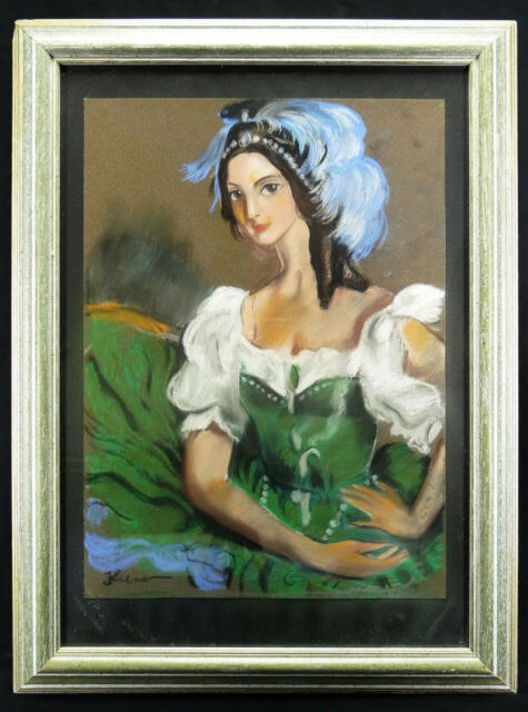 Portrait of Young Woman Project of Costume Theatre Pastel Original Signed