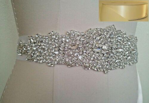 Crystal Wedding Dress Sash Belt = in Ivory Satin Sash Wedding Sash Belt