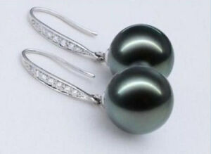 10-11MM-NATURAL-TAHITIAN-GENUINE-BLACK-PERFECT-ROUND-SILVER-PEARL-EARRING