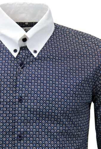 SVENDITA Camicia Da Uomo Mod Retro colletto Retrò inglese 70s 60s secondi blu 1095 z95
