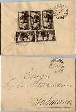 REGNO-Blocco tre più coppia 10c(326) DECENNALE-Busta Bugnara- Sulmona 2.3.1933