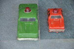 2PC-Vintage-Rojo-y-Verde-Litho-Coche-Friccion-Estano-Juguete