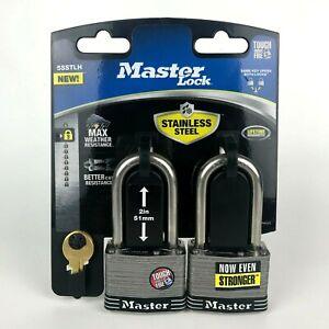 2-Pack Master Lock Stainless Steel Padlocks with 2 Keys 2in/51mm Keyed Alike