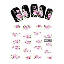 20 Stickers-Decals Water Transfer Flowers-Tattoo Adesivi Unghie Fiori Rosa