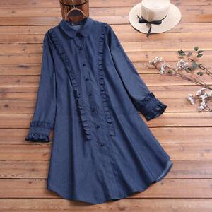 Mode-Femme-en-Jean-Asymetrique-Manche-Longue-a-volants-Haut-Chemise-Shirt-Plus