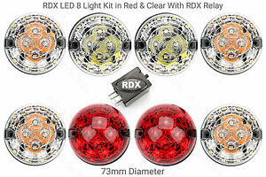 8-RDX-LED-STANDARD-SIZE-Light-lamps-amp-Relay-Defender-1994-onwards-Red-amp-Clear