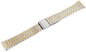 Edelstahl-Gliederband-Uhrenband-Silber-Gold-18-mm-Faltschliesse-D-8100050180