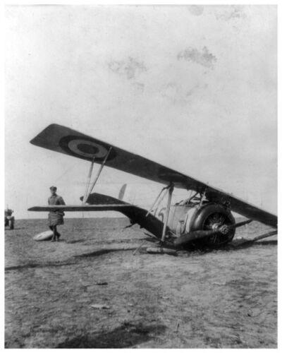 Silver Halide Photo WWI German Posing  Wrecked AEF American Aero Squadron Plane