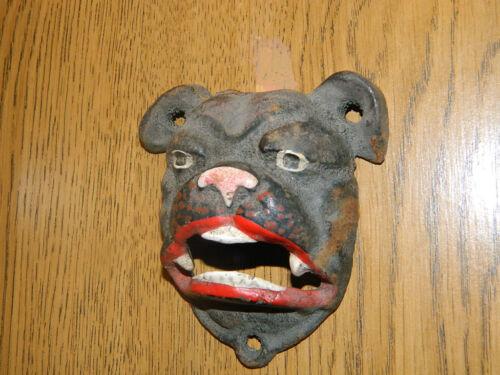 CAST IRON PIT BULL BULL DOG METAL ART MAN CAVE BOTTLE OPENER