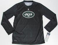Boys Nfl Ny Jets Long Sleeve Lightweight Shirt Black Green Size Medium 10/12