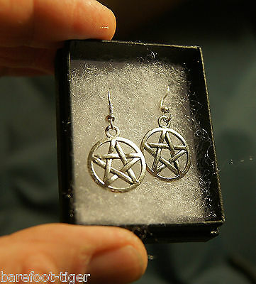 Pentagram Amulet Earrings (Pair) Occult Pagan Wicca Witchcraft. Superb Value.