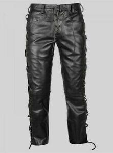 Men-039-s-Black-Cowhide-Leather-Pant-Breeches-BLUF-Biker-Jeans-Trousers-Lederhosen