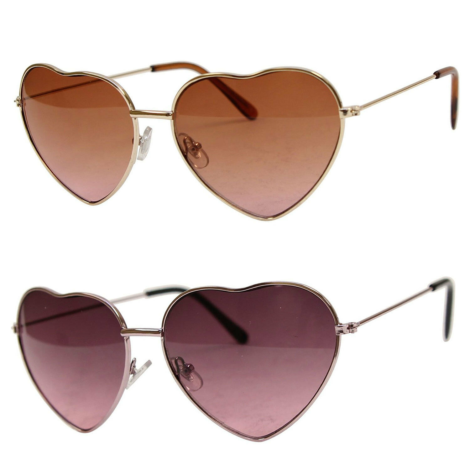 1 or 2 Pair Womens Small Thin Metal Heart Shaped Frame Sunglasses Spring Hinge
