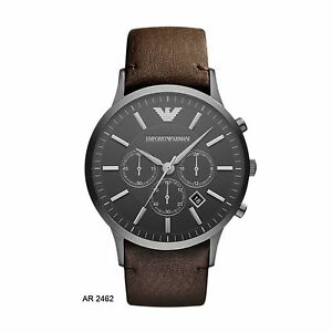 cost charm separation shoes 100% genuine Details about EMPORIO ARMANI BROWN LEATHER STRAP MEN'S WATCH AR2462