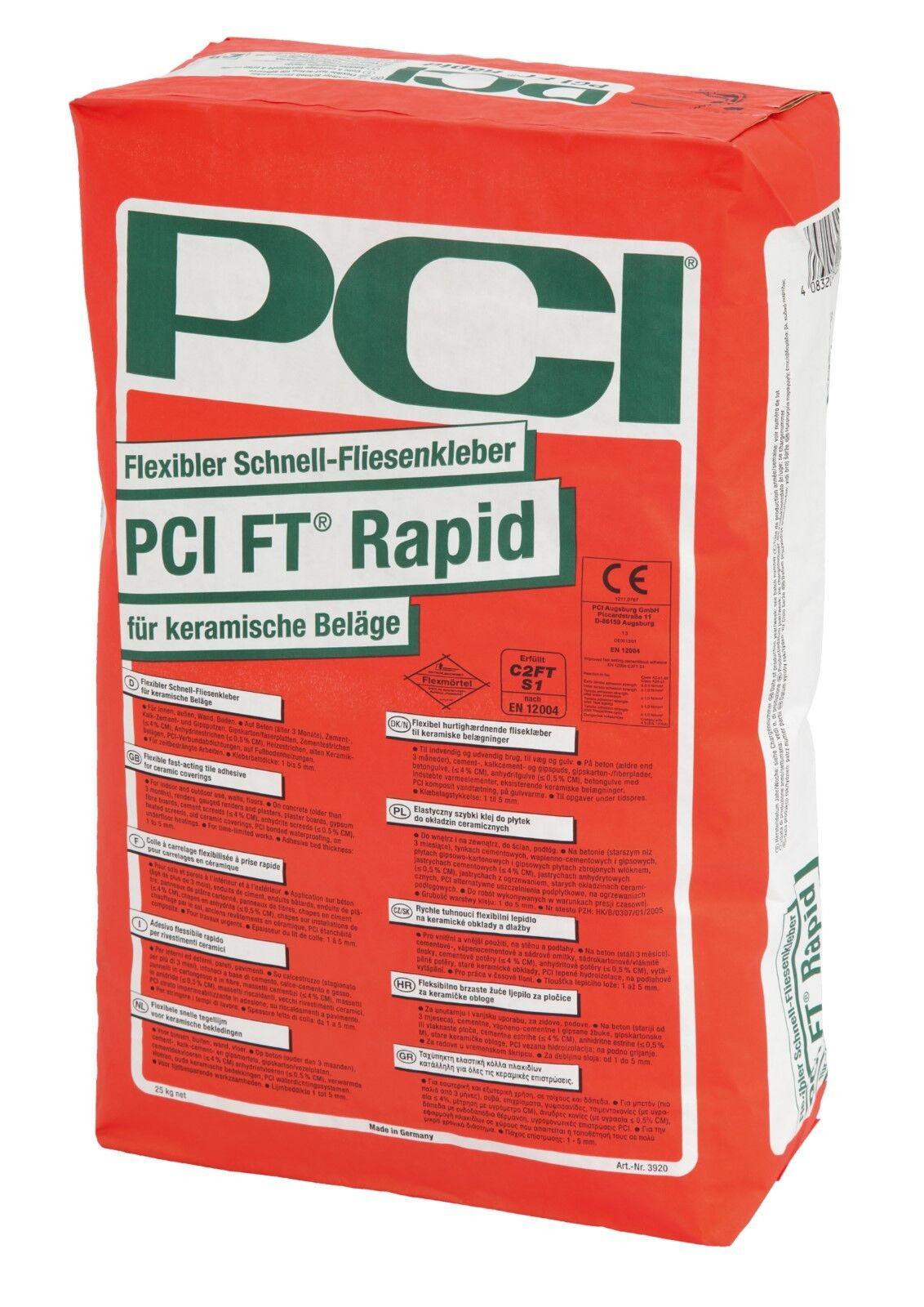 PCI FT Rapid 25 kg Schnell-Kleber Fliesen-Kleber Verlegung auf Heizestrich