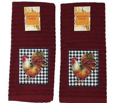 Fall Rooster Burgundy Kitchen Dish Towel Set of 2 Country Buffalo Plaid Autumn
