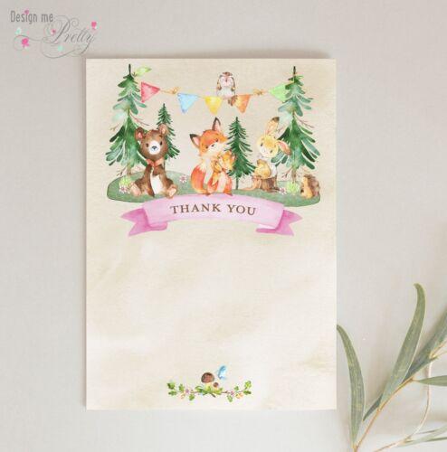 Woodland Animal Remerciement-Pack de 8-Cartes postales Notelets pour filles