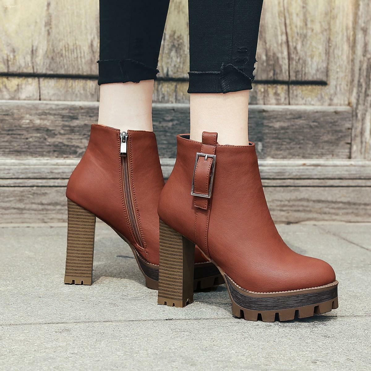Retro Womens Ankle Boots HighChunky Heel Platform Side Zipper shoes Casual Party