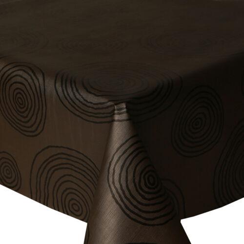 PVC Table Nappe Cratère noir cercles marron chocolat Essuyer Capable Vinyle Protecteur