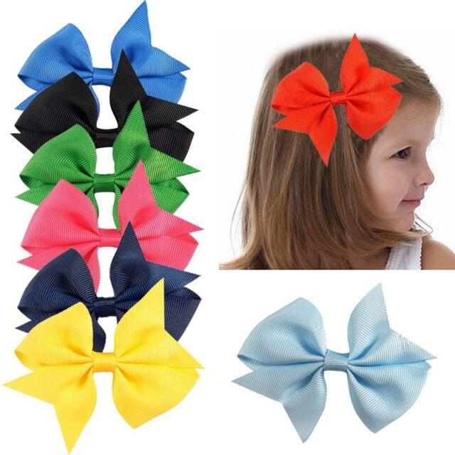 40Pcs 4inch Boutique Grosgrain Ribbon Baby Girls Hair Bows w//Clips for Toddlers